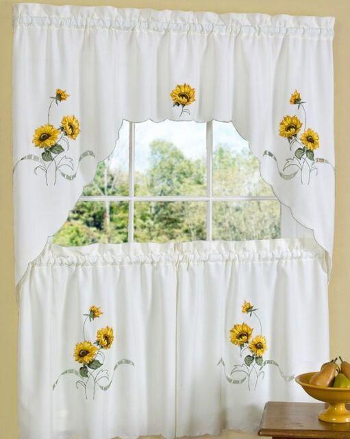 "RARE Kitchen Curtains Set: 2 Tiers (58"" x 36"") & Swag, SUNFLOWERS SUNSHINE"