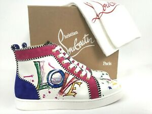 864b11a7150 Details about Christian Louboutin Love White Leather Graphic High Top  Sneaker 39/9