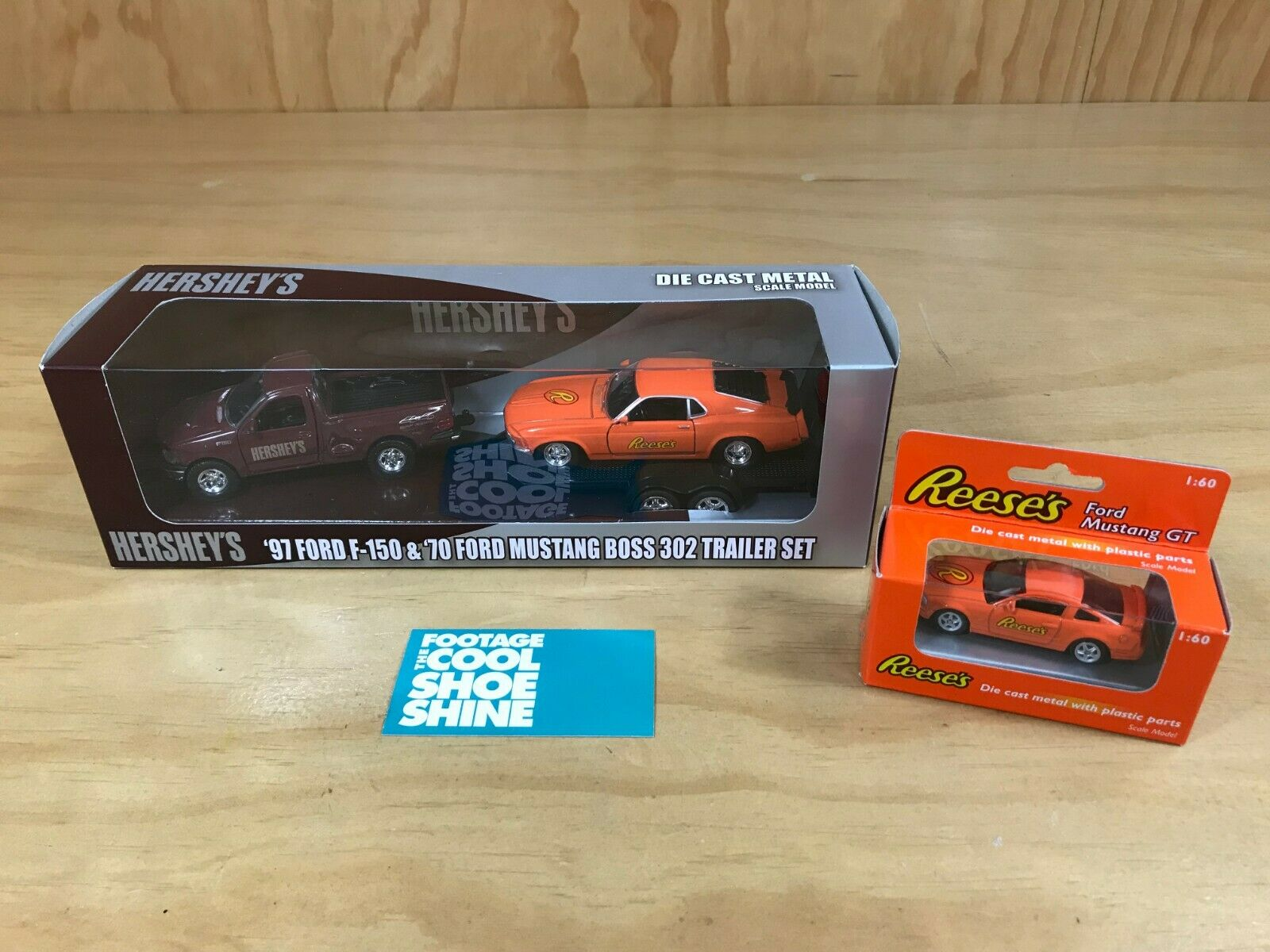 SET OF 2 WELLY DIE CAST TOY CARS HERSHEYS REESES FORD F-150 MUSTANG GT BOSS 302