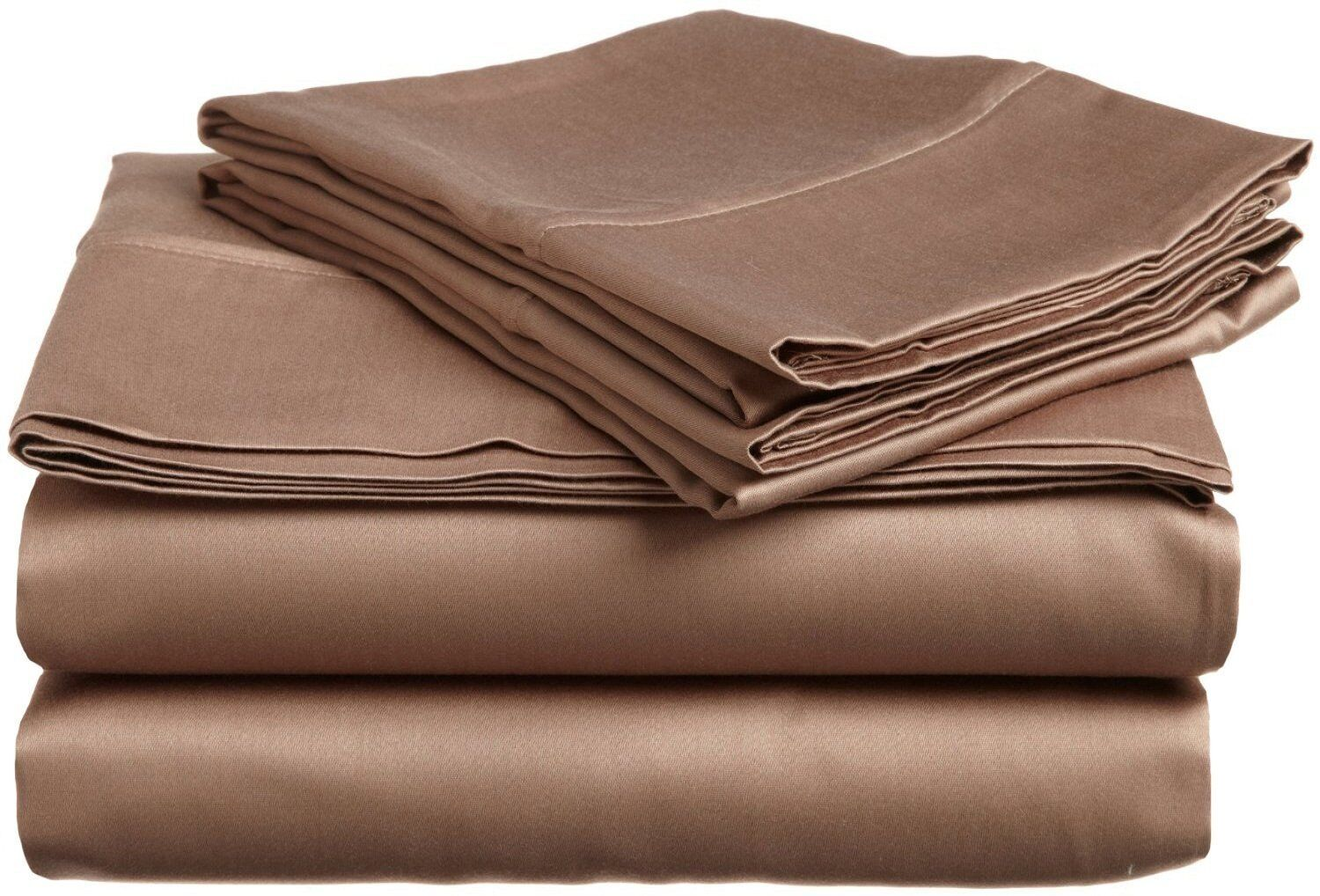 Sheet Set -Taupe Solid - Egyptian Cotton Sizes & Deep Free Shipping USA 1000TC