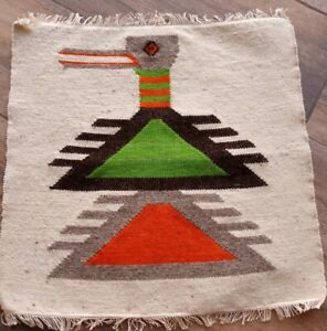 Native-American-Vintage-Roadrrunner-woven-TAPESTRY-wool-small-15-034-x-15-034