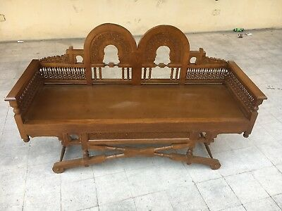 Antique Egyptian Carving Wood Sofa