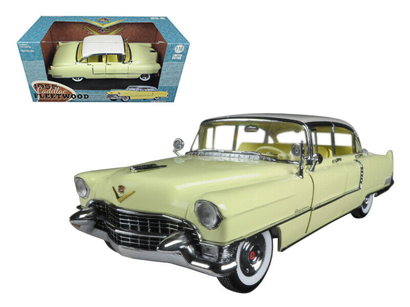 verdelight 1 18 1955 Cadillac Fleetwood Series 60 y biancao Top Model giallo 12937