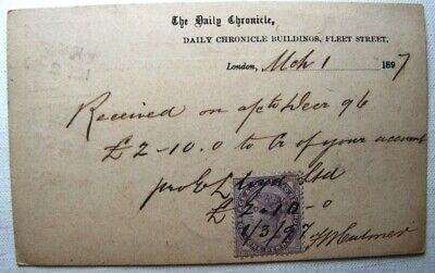 1897 Inland Revenue Stamp On Postcard London Postmark To Germany Daily Chronicle Neueste Technik