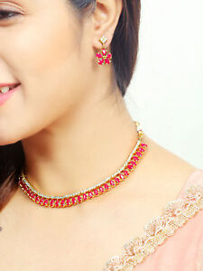 Indian-Bollywood-Ruby-AD-Stone-Trending-Necklace-Earrings-Fashion-Chain-Set