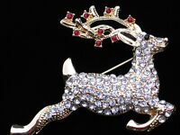 Monet Gold Christmas Rudolph Jumping Flying Reindeer Pin Brooch Jewelry 2.25