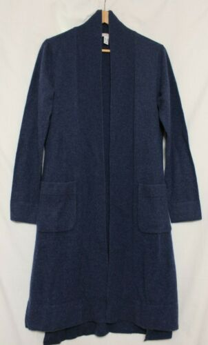 Isaac Mizrahi 2-Ply Long Sleeve Cashmere Open Duster Cardigan Blue A295977 XS