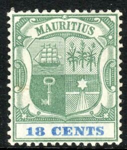Mauritius-1895-green-ultramarine-18c-crown-CA-perf-14-mint-SG132