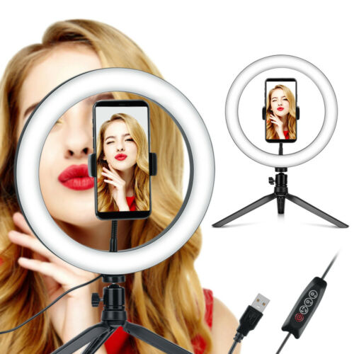 """10/"""" Dimmable LED Ring Light Live Light Lamp with Tripod Stand Set MakeUp Live"""