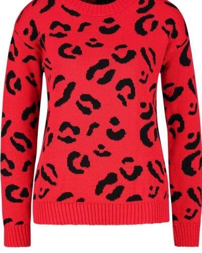 Da Donna con Stampa Leopardata Manica Lunga Maglione Lavorato a Maglia Pullover Maglione 8-22