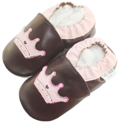 Soft Sole Leather Baby Infant Children Kid Girl Gift Crown Brown Shoes 18-24M