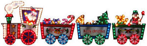 Lighted-Christmas-Train-SANTA-CLAUS-Outdoor-Decoration-118-034-long-by-36-034-high-NEW