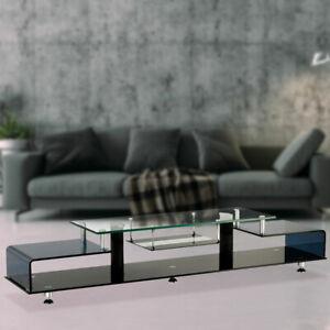 Luxus Tv Regal Wohn Zimmer Chrom Lowboard Sicherheits Glas Hifi Fernseh Schrank Ebay