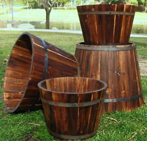 Image Is Loading Large Wine Barrel Planter Whiskey Round Garden Pot