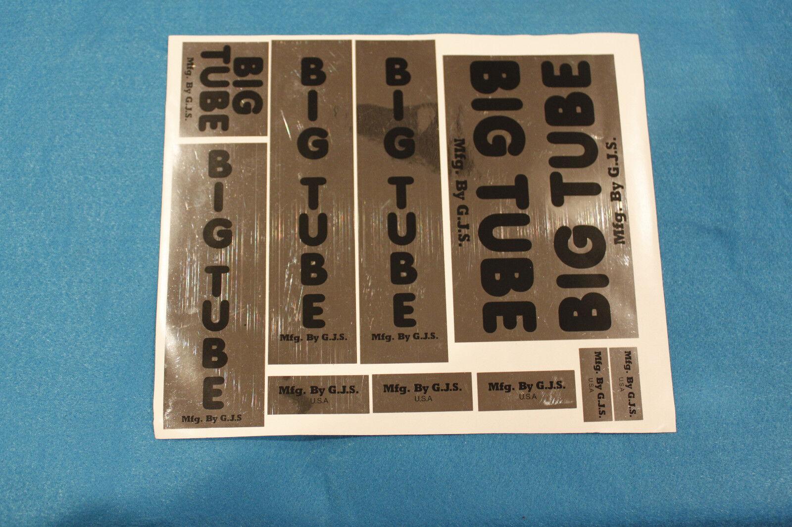 black /& chrome decal set BIG TUBE Old school bmx GJS