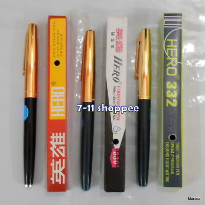 F nib Free Shipping! Set of 3 Hero 329 Fountain Pens USA Seller /& Fast
