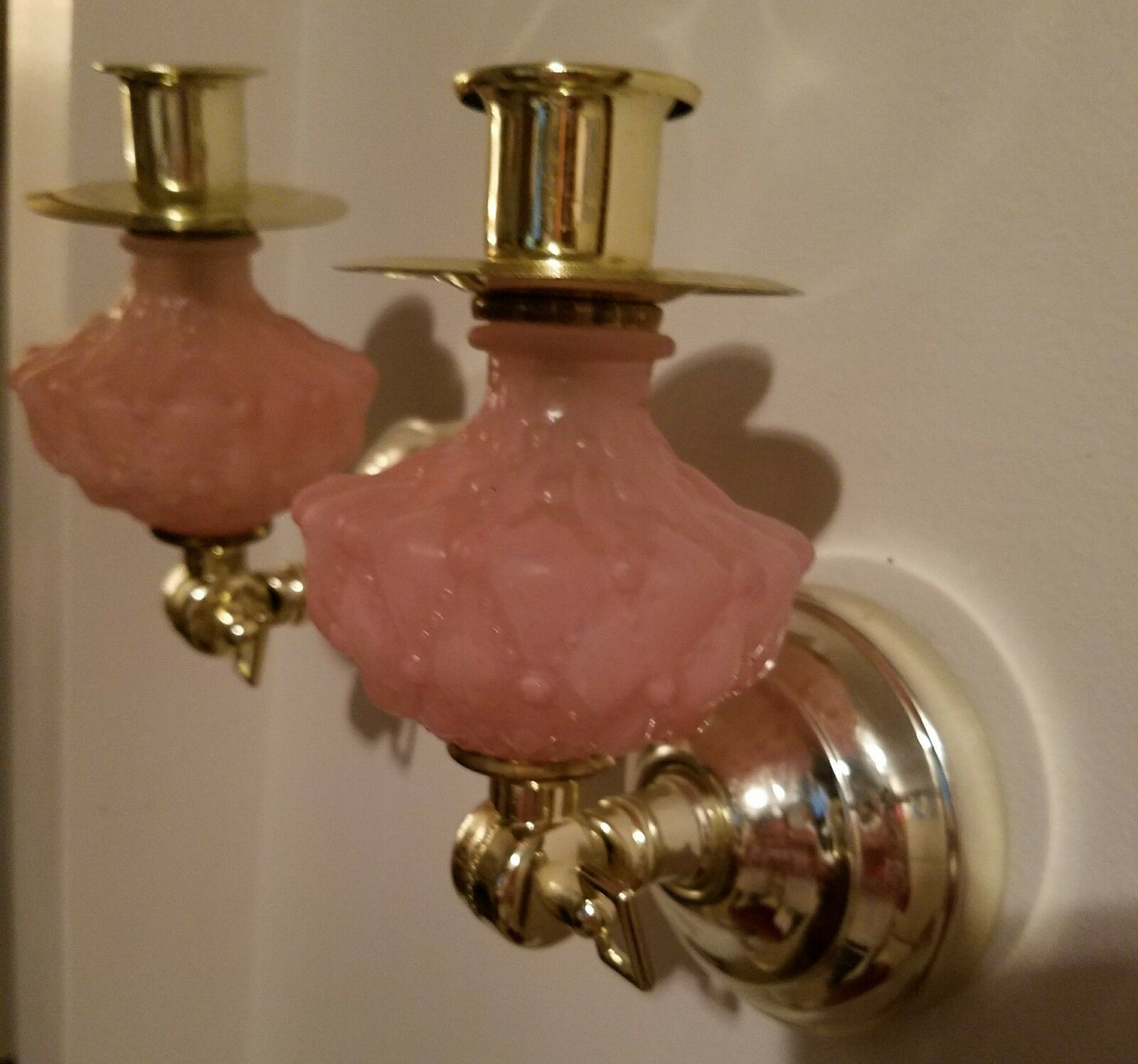 Vintage Set of 2 gold Tone wall Scones adjustable Pink Frosted Glass Set