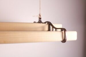 Clothes-Airer-Dryer-Indoor-Ceiling-Pulley-Cast-Iron-Vintage-4-x-Pinewood-Laths