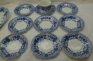 Details about ANTIQUE FLOW BLUE CHINA CUP SAUCER SET 10 PC JOHNSON BROTHERS  ECLIPSE ENGLAND
