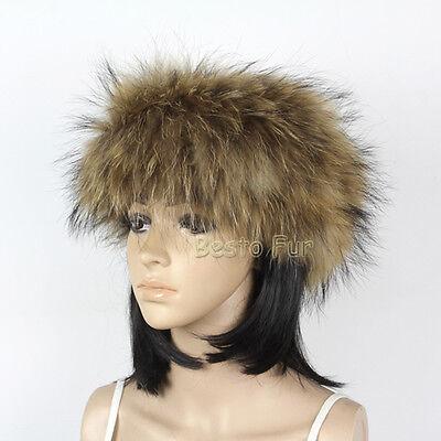Winter warm female knitted raccoon fur head band women real fur scarf wrap band