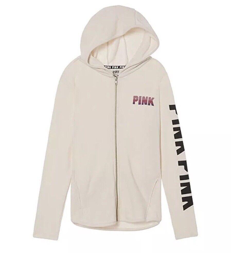 Victoria's Secret Secret Secret Pink Full Zip High Low Hoodie   Size Large 9a34bd