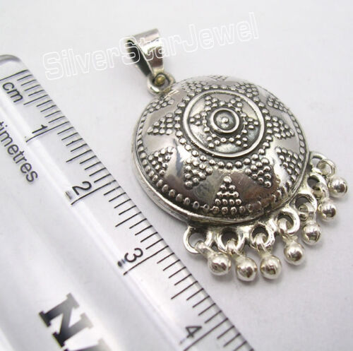 925 Argent Sterling Perles tribal Inde Pendentif 1.5 in environ 3.81 cm