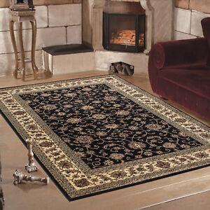 classique-Orient-Tapis-design-bordure-noir-mouchete-salon-6-tailles