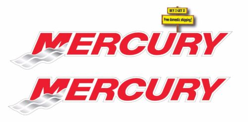PAIR OF MERCURY OUTBOARD MOTOR DECALS//STICKERS 1.4X8 BOATING FISHING p104 2