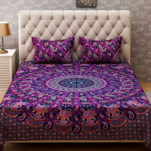 Indian Rajasthani Ghoomar Cotton Bed Cover Queen Size Bed Sheet With 2 Pillows