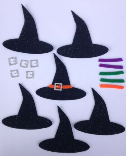6 x Make Your Own Halloween Witches Hats Embellishments Crafts Scrapbooking