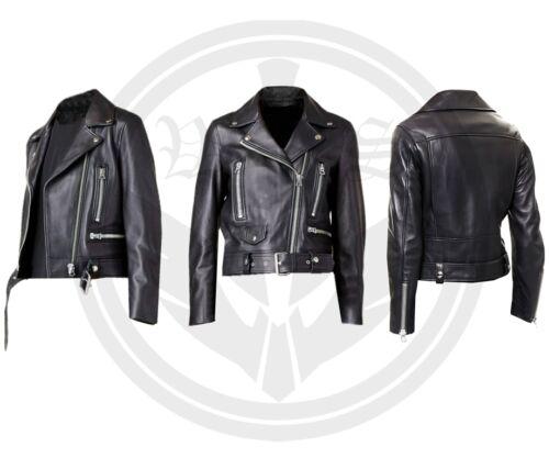 Læder Quality Style Ladies Biker Jacket Nappa Sheep Vintage Top Black qPxxB7wOa