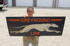 "Large Greyhound Line Bus Station Depot Gas Oil 48"" Metal Sign"