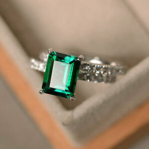 3Ct-Emerald-Cut-Green-Emerald-Bridal-Engagement-Ring-14K-White-Gold-Finish