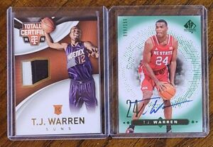 2014-15 UPPERDECK &PANINI SERIAL NUMBERED T.J. WARREN ROOKIE AUTO/ PATCH LOT