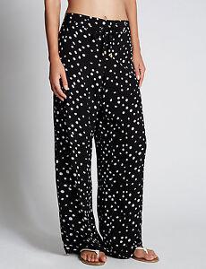Ex-M-amp-S-Women-039-s-Wide-Leg-Trousers-Spotty-Crepe-Palazzo-Baggy-Loose-Pants-Size-UK