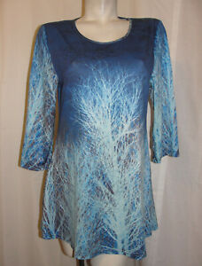 New-LILY-BY-FIRMIANA-Top-Women-039-s-Size-M-Blue-Brown-3-4-Sleeve-Pullover-Tunic