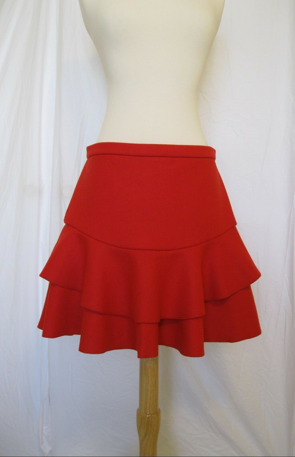 NWT J CREW  Cerise Red FLOUNCE SKIRT Bonded Wool Sz 10 B4747 Flare Ruffle