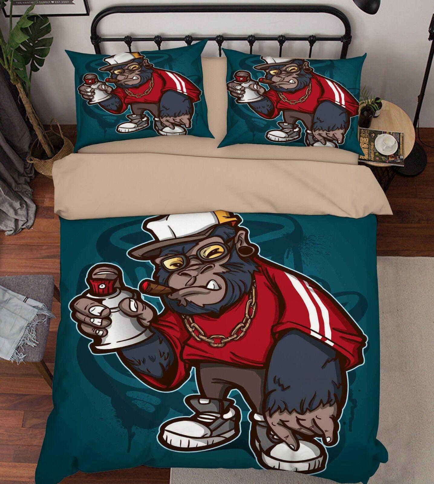 3D Orangutan Kid 646 Bed Pillowcases Quilt Duvet Cover Set Single King UK Summer
