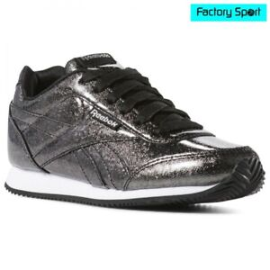 Detalles de Reebok Royal CLJOG 2 negro plata zapatillas moda deportiva para mujer y niña