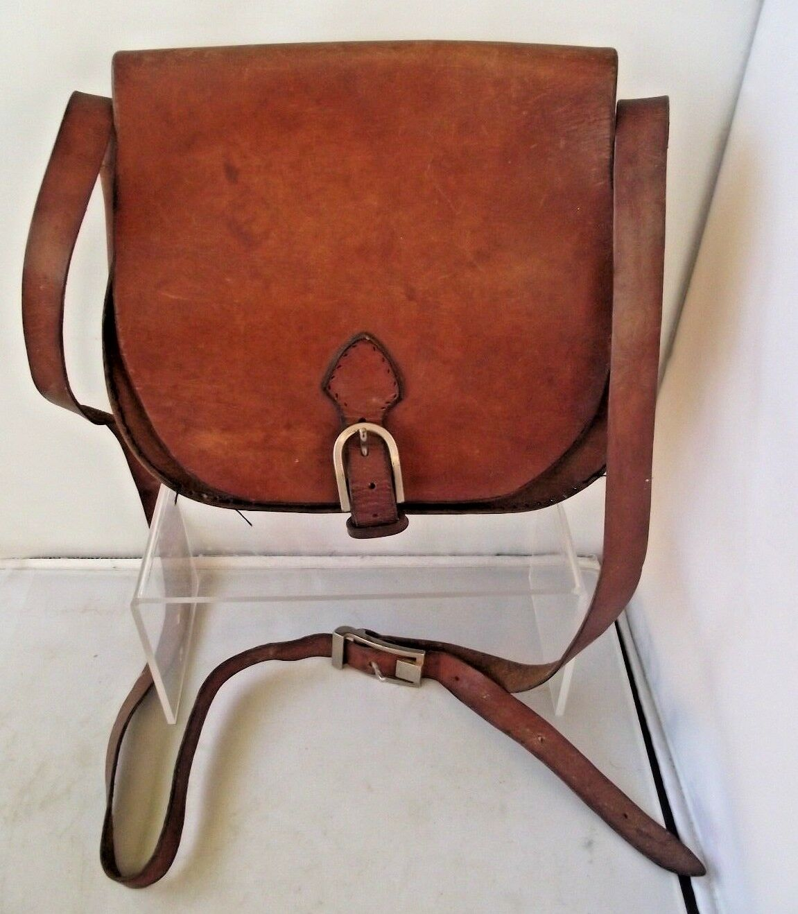 Vintage Made In France French Leather Shooting Cartridge Ammunition Bag Game