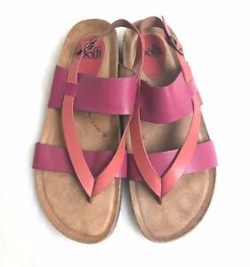 Women's Sofft Bristol Pink Strappy Thong Cork Leather Sandals Sz 9.5 M