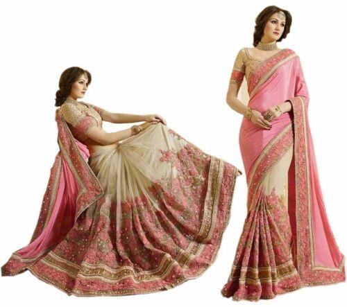 Latest Satin Net Embroidery Sari for Indian Ethnic Wedding Party wear Sari K663