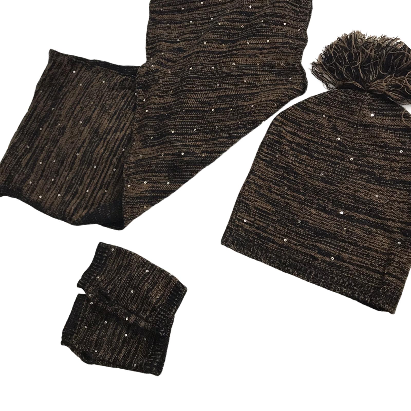 Brown Knit Sequin Hat, Scarf & Fingerless Glove Set