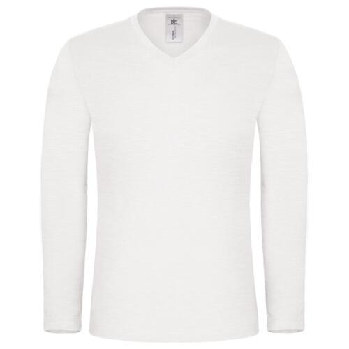 Mens Long Sleeve T-shirt 100/% Cotton Base Layer V Neck Slim Fit Muscle Top Plain