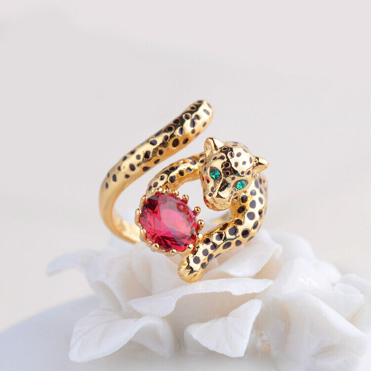 Ring Fine Open Adjustable Chevaliere Red Panthere Leopard Metal Eyes Green L3