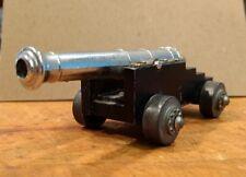 """Vintage Cast Aluminum & Brass Toy Naval Cannon Shoots Caps 4.25""""L"""
