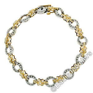 14K-Two-Tone-Gold-7-5-034-1-64ct-Round-Diamond-Flower-amp-Circle-Link-Tennis-Bracelet