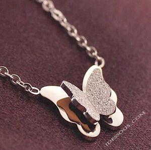 Damen-Halskette-18k-Goldkette-MIT-Anhaenger-Collier-Kette-vergolde-Schmetterling