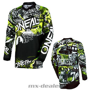O-039-Neal-Element-Attack-Negro-Neon-Jersey-Camiseta-Conductor-Mx-Motocross-MTB-Dh