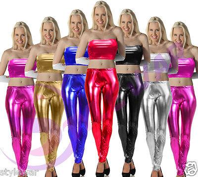 Girls Wet Look Leggings Metallic Shiny Dance Group School Music Gymnastic